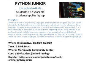 Python Junior Class - Martinsville Community Center